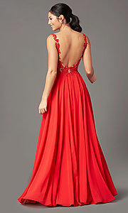 Image of PromGirl long formal prom dress with beaded bodice. Style: PG-B2014 Back Image