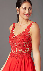 Image of PromGirl long formal prom dress with beaded bodice. Style: PG-B2014 Detail Image 1