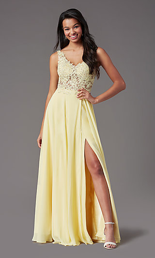 PromGirl Long Formal Prom Dress with Beaded Bodice