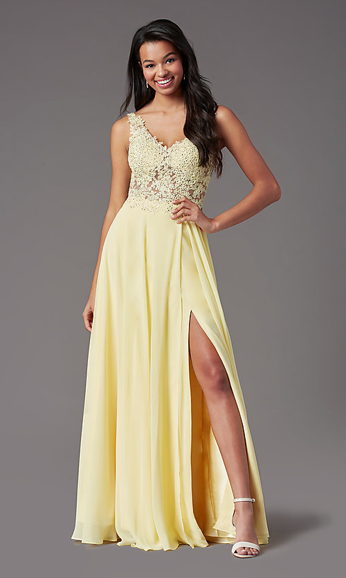 Image of PromGirl long formal prom dress with beaded bodice. Style: PG-B2014 Detail Image 3