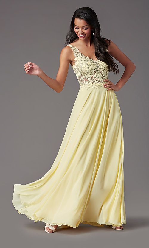 Image of PromGirl long formal prom dress with beaded bodice. Style: PG-B2014 Detail Image 5