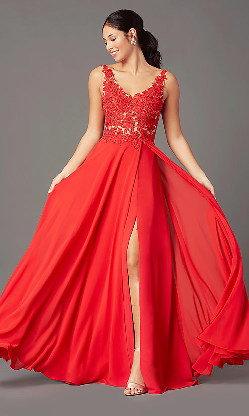 Image of PromGirl long formal prom dress with beaded bodice. Style: PG-B2014 Front Image