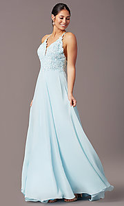 Image of embroidered v-neck long prom dress by PromGirl. Style: PG-B2015 Back Image