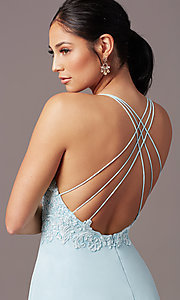 Image of embroidered v-neck long prom dress by PromGirl. Style: PG-B2015 Detail Image 1