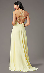 Image of embroidered v-neck long prom dress by PromGirl. Style: PG-B2015 Detail Image 4