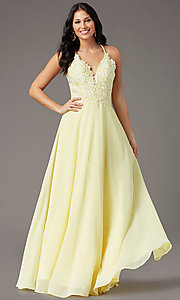 Image of embroidered v-neck long prom dress by PromGirl. Style: PG-B2015 Detail Image 3
