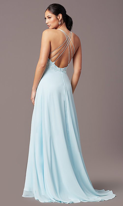 Image of embroidered v-neck long prom dress by PromGirl. Style: PG-B2015 Front Image
