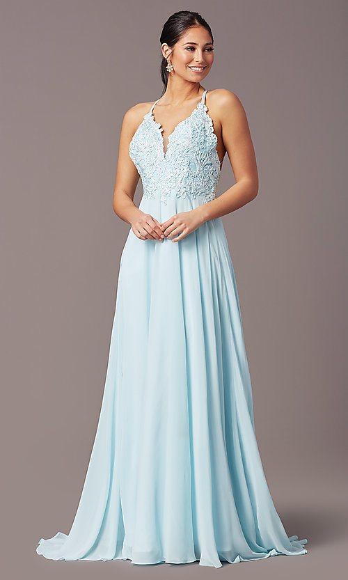Image of embroidered v-neck long prom dress by PromGirl. Style: PG-B2015 Detail Image 2