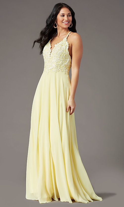 Image of embroidered v-neck long prom dress by PromGirl. Style: PG-B2015 Detail Image 6