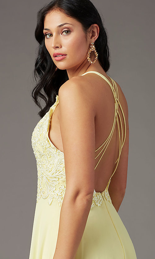 Image of embroidered v-neck long prom dress by PromGirl. Style: PG-B2015 Detail Image 5