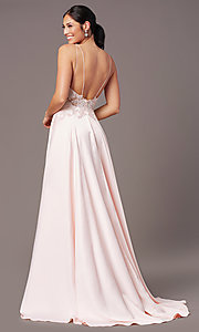 Image of backless long satin formal prom dress by PromGirl. Style: PG-B2017 Detail Image 2