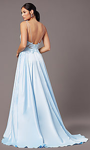 Image of backless long satin formal prom dress by PromGirl. Style: PG-B2017 Back Image