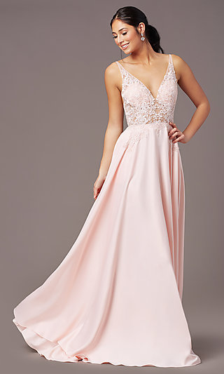 Backless Long Satin Formal Prom Dress by PromGirl