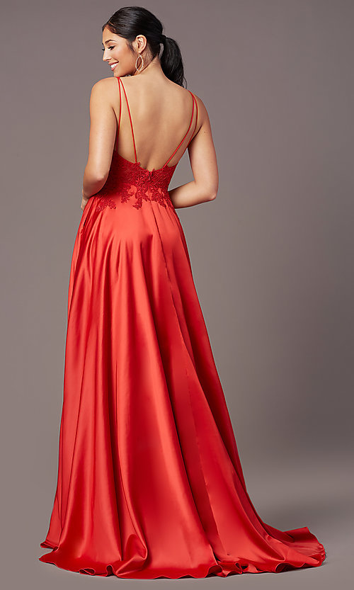 Image of backless long satin formal prom dress by PromGirl. Style: PG-B2017 Detail Image 7