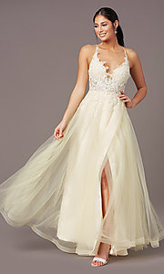 Image of faux-wrap long tulle formal prom dress by PromGirl. Style: PG-B2020 Front Image