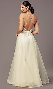 Image of faux-wrap long tulle formal prom dress by PromGirl. Style: PG-B2020 Back Image