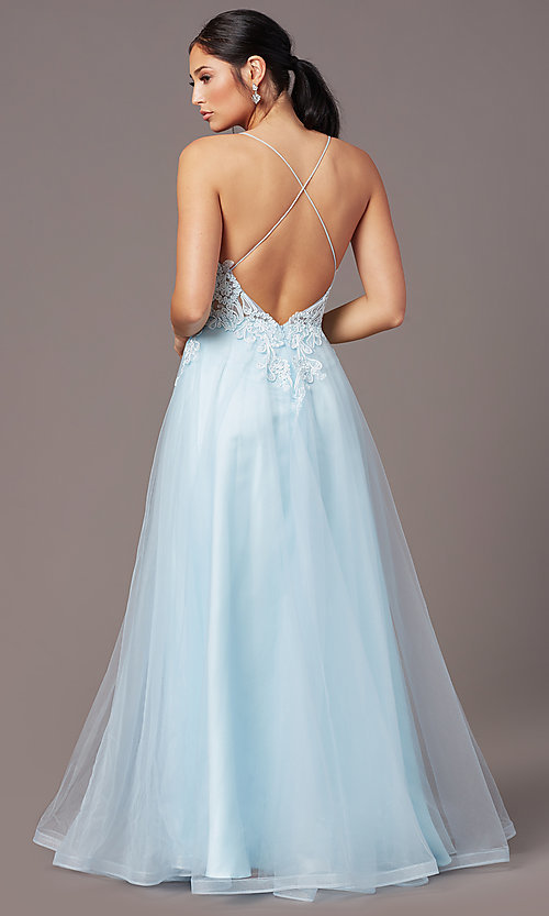 Image of faux-wrap long tulle formal prom dress by PromGirl. Style: PG-B2020 Detail Image 4
