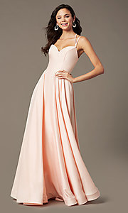 Image of long a-line sweetheart prom dress by PromGirl. Style: PG-B2026 Detail Image 4
