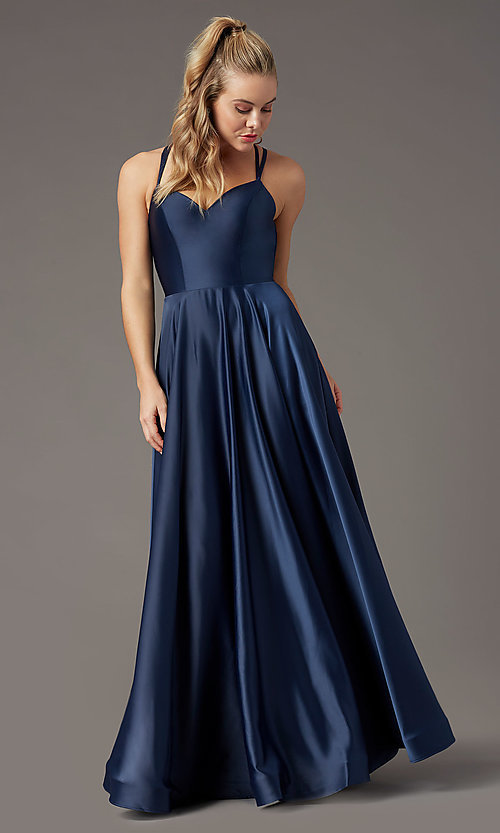 Image of long a-line sweetheart prom dress by PromGirl. Style: PG-B2026 Detail Image 6