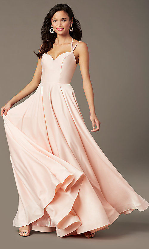 Image of long a-line sweetheart prom dress by PromGirl. Style: PG-B2026 Detail Image 1