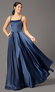 Image of PromGirl long a-line prom dress with pockets. Style: PG-B2027 Detail Image 3