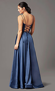 Image of PromGirl long a-line prom dress with pockets. Style: PG-B2027 Detail Image 4
