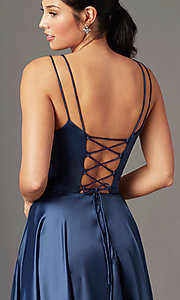 Image of PromGirl long a-line prom dress with pockets. Style: PG-B2027 Detail Image 5