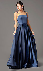 Image of PromGirl long a-line prom dress with pockets. Style: PG-B2027 Detail Image 6