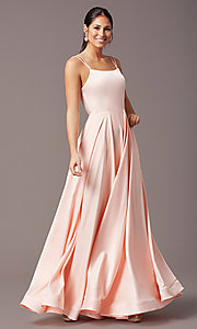 Image of PromGirl long a-line prom dress with pockets. Style: PG-B2027 Detail Image 2