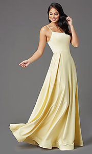 Image of PromGirl long a-line prom dress with pockets. Style: PG-B2027 Detail Image 7