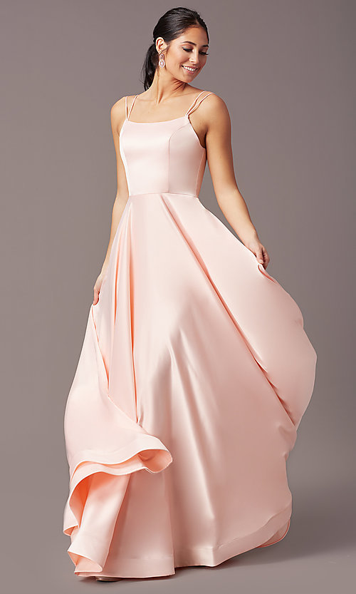Image of PromGirl long a-line prom dress with pockets. Style: PG-B2027 Front Image