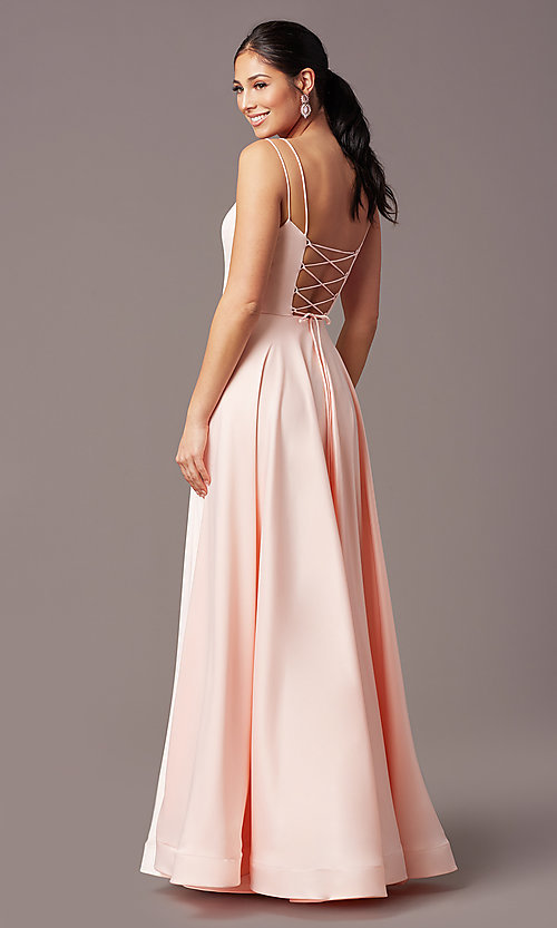 Image of PromGirl long a-line prom dress with pockets. Style: PG-B2027 Back Image