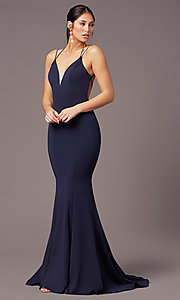 Image of long trumpet-style formal prom dress by PromGirl. Style: PG-B2031 Detail Image 6