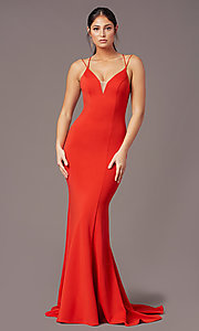 Image of long trumpet-style formal prom dress by PromGirl. Style: PG-B2031 Back Image