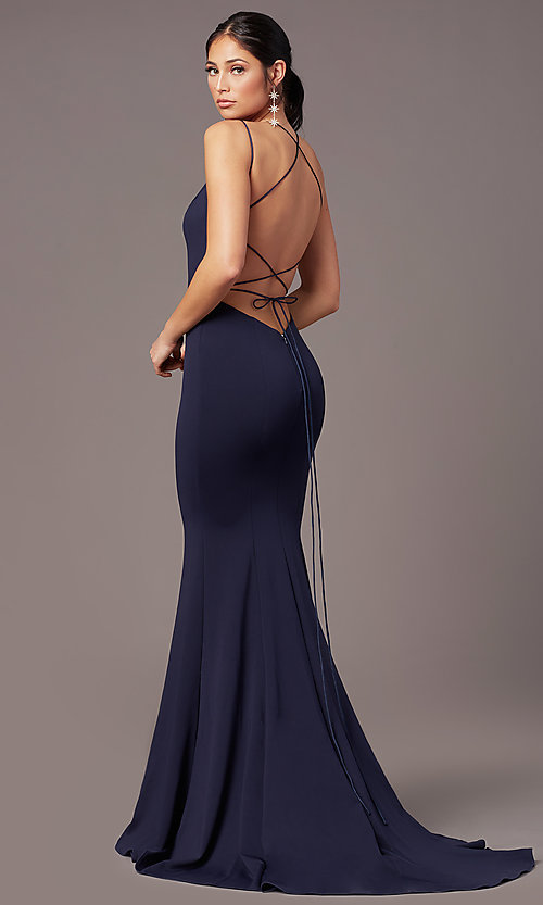 Image of long trumpet-style formal prom dress by PromGirl. Style: PG-B2031 Detail Image 4