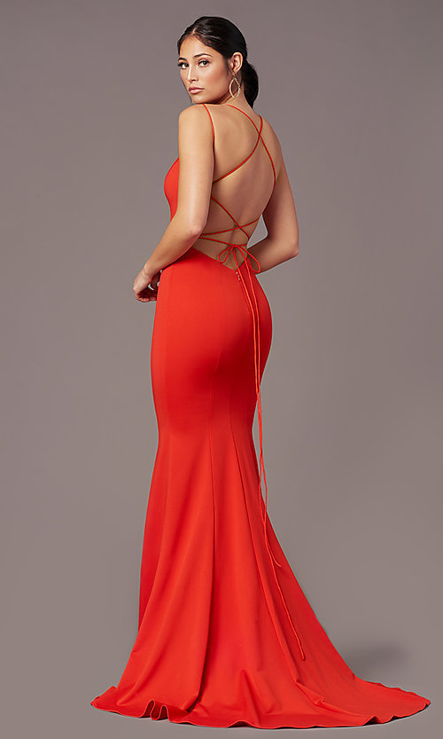 Image of long trumpet-style formal prom dress by PromGirl. Style: PG-B2031 Front Image