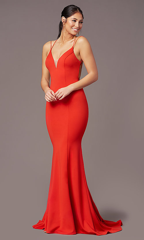 Image of long trumpet-style formal prom dress by PromGirl. Style: PG-B2031 Detail Image 2