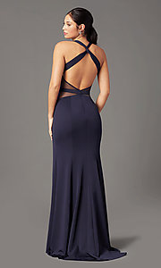 Image of long fitted jersey prom dress by PromGirl. Style: PG-B2032 Back Image