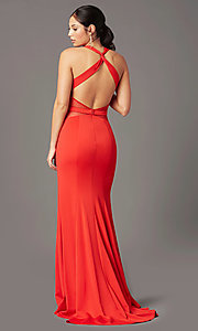 Image of long fitted jersey prom dress by PromGirl. Style: PG-B2032 Detail Image 4