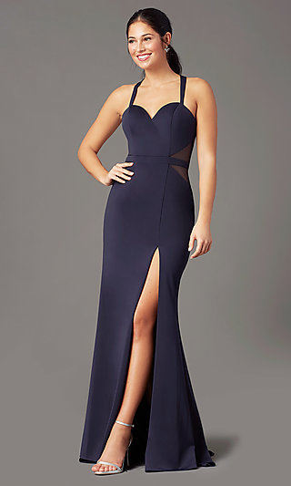 Long Fitted Jersey Prom Dress by PromGirl