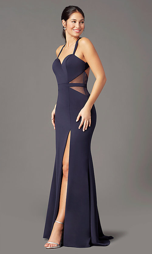 Image of long fitted jersey prom dress by PromGirl. Style: PG-B2032 Detail Image 2