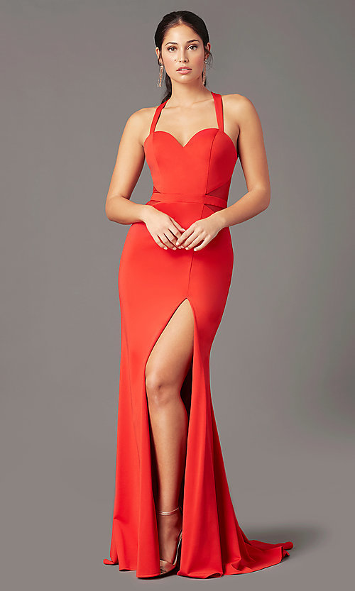 Image of long fitted jersey prom dress by PromGirl. Style: PG-B2032 Detail Image 3