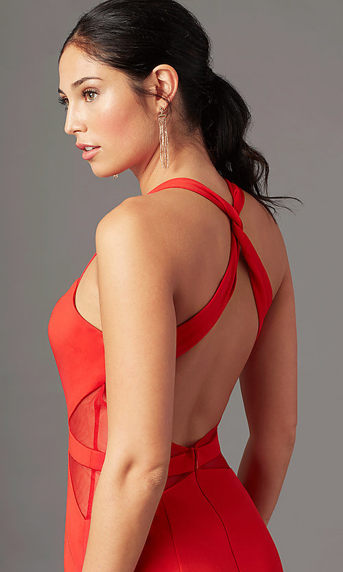 Image of long fitted jersey prom dress by PromGirl. Style: PG-B2032 Detail Image 5