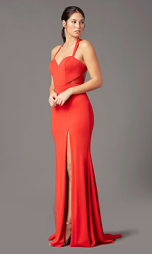 Image of long fitted jersey prom dress by PromGirl. Style: PG-B2032 Detail Image 6