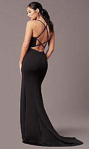 Image of long v-neck tight prom dress by PromGirl. Style: PG-B2033 Detail Image 4