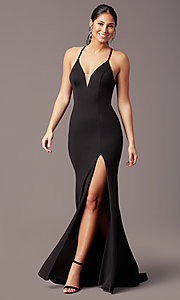 Image of long v-neck tight prom dress by PromGirl. Style: PG-B2033 Detail Image 6