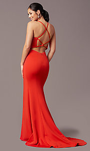 Image of long v-neck tight prom dress by PromGirl. Style: PG-B2033 Front Image