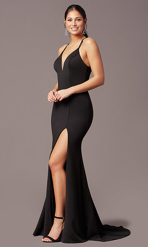 Image of long v-neck tight prom dress by PromGirl. Style: PG-B2033 Detail Image 3