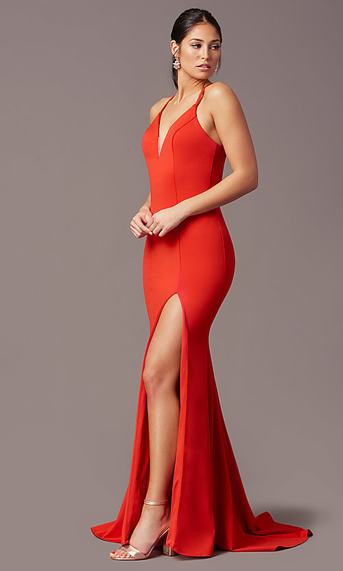 Image of long v-neck tight prom dress by PromGirl. Style: PG-B2033 Back Image