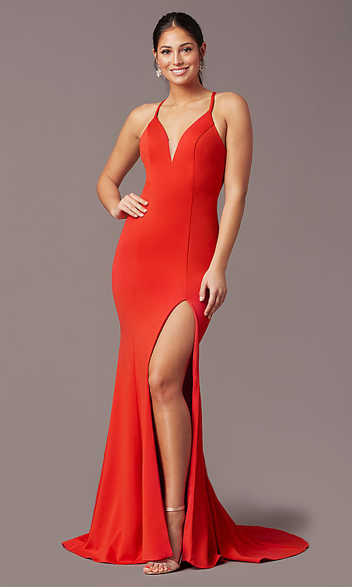 Image of long v-neck tight prom dress by PromGirl. Style: PG-B2033 Detail Image 2